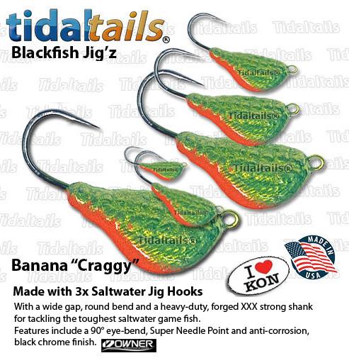 25 Banana Jig Heads Blackfish Striped Bass Fluke Sheepshead Lure 2 OZ PINK WHITE